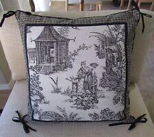 "Asian Toile Chinoiserie Decorative Pillow Black & Cream Linen/Cotton 18"""