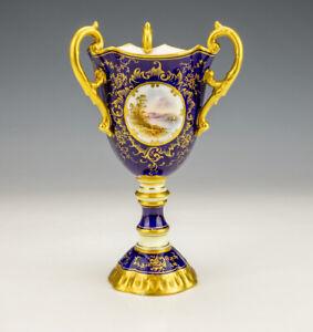 Antique Coalport China - Hand Painted Loch Eck Scene Gilded & Cobalt Blue Vase
