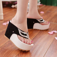 Women's  Flip Flop Thong Rhinestones Wedge Platform Heel Sandal Slipper Shoes