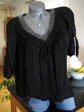 NEU ITALY Häckel Tunika Bluse schwarz Blogger Chic M-XL 38-42 Viskose Trend