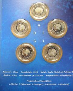 BRD 5+10 Euro Polymer-Ring 2016-2019 UNC + PP einzeln + J. Ausgaben zur Auswahl