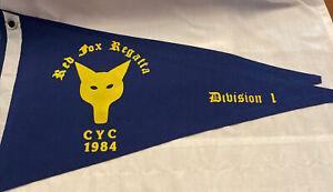 Vintage Canvas Charlevoix Yacht Club 1984 Burgee Red Fox Regatta Division 1