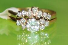 AA4 Stunning 14K Yellow GOLD 2-pc Diamond Wedding Engagement Ring Set size 6.5