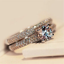 Best Women Engagement Wedding 2Pcs Ring Set Cubic Zirconia Silver Ring Jewelry