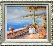 Framed Oil Painting On Canvas, Impressive Mediterranean Scene, Seaside Landscape