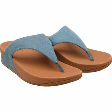 New Size 6 FitFlop Ladies Ultra Comfortable ToePost Denim Blue Summer Sandals AJ