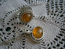 Vintage Silver 925 Suarti Style Amber Pendant and Ring Set size O/P :)