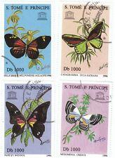 S. TOME' E PRINCIPE - Bustina 4 francobolli serie ANIMALI, FARFALLE