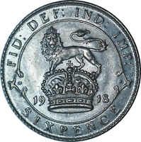UK George V 6d Six Pence Coin 1918 AU Weak Strike on Obv .925 Sterling Silver