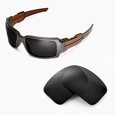 Walleva Polarized Black Replacement Lenses For Oakley Oil Drum II Sunglasses