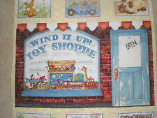 "Quilt Panel - ""Wind It Up"" -- Toy Shop with Toy Patches- Great for Quilting!"