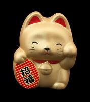 Hucha Gato Japonés Oro Maneki Neko En Cerámica Fabricado en Japón 61-B11