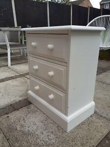 Small 3 drawer unit, white, shabby chic