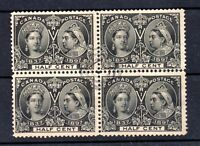 Canada 1897 1/2c Jubilee SG121 fine used block Cat Val £300 WS19688