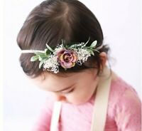 Girl Baby Kid Purple Babys breath Flower Leaf Hair head Elastic Band Headband