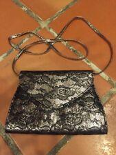 Neiman Marcus Silver Metalic Black Lace Clutch w/  detachable Strap Purse Bag