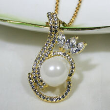 18K Yellow Gold Filled Clear CZ Shell Pearl Women Jewelry Necklace Pendant P2548