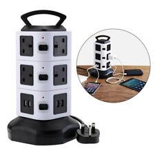 10 Way Gang Tower Mains Power Extension Socket Adapter 3M Lead UK Plug - Black