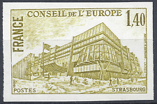 SERVICE N°63 EUROPE ESSAI COULEUR NON DENTELÉ VERT/JAUNE PROOF 1980 NEUF ** MNH