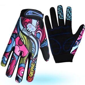QEPAE MTB Road XC Cycling Bike full Finger Glove Sport Short Gloves M L XL pink