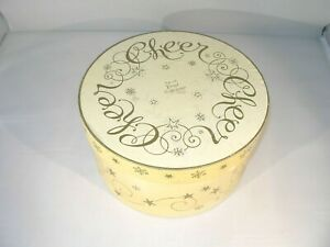 """Christmas Mugs: S/4 White with Gold Trim """"CHEERS"""" Mugs by Lin Dillin Fitted Box"""