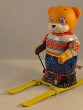 Ancien rare jouet mécanique tôle automate ours skieur ski Montagne JAPAN 1950
