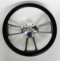"Chevelle Nova Camaro Impala 14"" Steering Wheel Black Billet Chevy Bowtie cap"