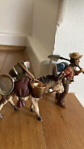 SCHLEICH- GOLD PROSPECTOR WITH DONKEY Rare and Retired- AS NEW