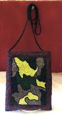"""Sexy Skinny BARSE Multi-color Beaded 6x8"""" Snap Evening Bag braided bead strap"""