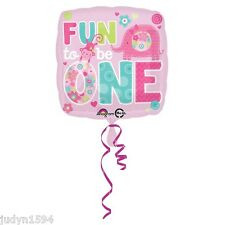 WILD ONE FUN TO BE PINK GIRL FOIL BALLOON ELEPHANT MONKEY PARTY DECORATION