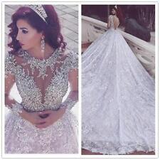 Luxury Said Mhamad White Wedding Dresses Lace Long Sleeve Crystals Wedding Dress