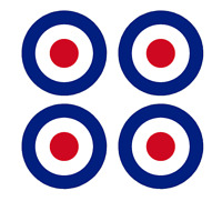"""Set of 4 Remote Control (RC8) Red Blue White RAF Roundels 4"""" RC Airplane Sticker"""