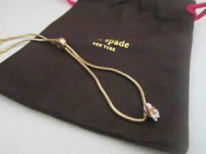 BN IN POUCH KATE SPADE GOLD & WHITE FLOWER DIAMONTE FRIENDSHIP BRACELET £45