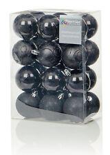 24X Negro Grande Bolas 6cm Adornos para Árbol de Navidad con Purpurina Mate &