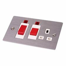 45 Amp Cooker Switch & Socket Flat Plate Satin Stainless With Neons Double Oven