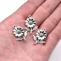 20PC Tibetan Silver Sunflower Charm Pendant For DIY Earrings/Bracelet/Necklace