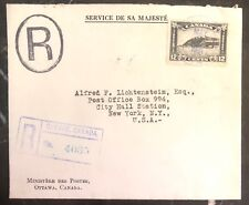 1931 Quebec Canada OHMS Registered Cover to New York USA Red Wax Seal