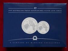 Australia.. 1999 1oz & 2oz - Silver Kookaburra Set..  Proof - In Perth Mint Case