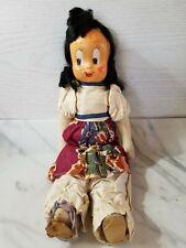"Little Lulu Poland Stuffed Cloth Doll 15"" Hard Plastic Mask Face-Jointed-Black H"