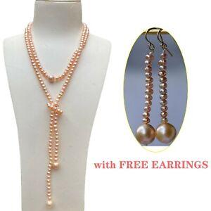 Elegant Natural Orange-pink Freshwater pearl necklace w/ free AAA Pearl Earrings