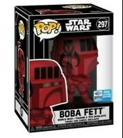Star wars Boba Fett funko pop red Wondercon Exclusive in Hard Stack mandalorian