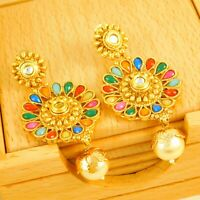 Bollywood Gold Plated Traditional Earrings Party Drop/Dangle Earrings Jewelry