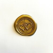 Double Heart Stamped Premade Wax Seal W/ Adhesive Back - Pack Of 25