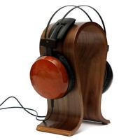 Wooden Walnut Wood Headphone Gaming Headset Display Stand Holder Hanger Y1M9