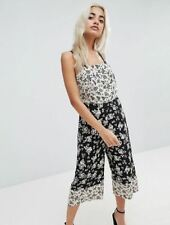 96f64fed8198 New Look Petite black and white floral print culotte jumpsuit size 8