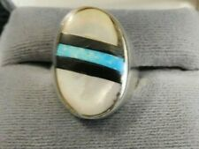 ring .925 unsigned Mexico, 8.5 Vintage Sterling Silver Multi Stone Inlay