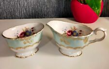 More details for old foley china cream/milk jug & sugar bowl with floral in perfect condition