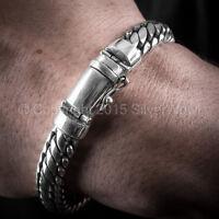 Woven Snake Mens Bracelet 10mm - SOLID 925 Sterling Silver. ( All Lengths )