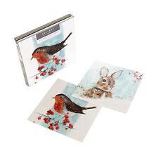 """Paquete de tarjeta de la galería de Navidad HALLMARK """"Robin & Bunny"""" - Paquete de 10"""