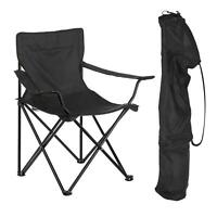 2x FOLDING CAMPING CHAIR LIGHTWEIGHT PORTABLE FESTIVAL FISHING OUTDOOR - BLACK